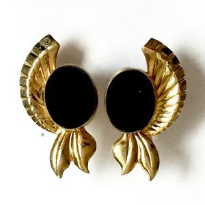 Vintage Gold Black Stone Earrings